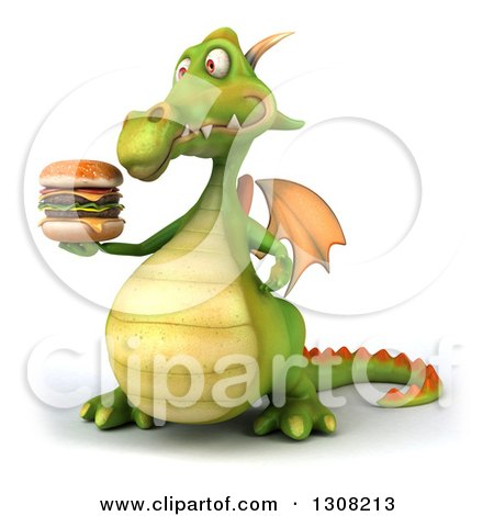 Clipart of a 3d Green Dragon Facing Slightly Left and Holding a Double Cheeseburger - Royalty Free Illustration by Julos