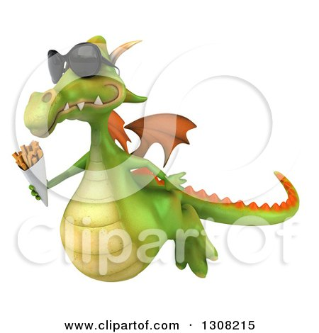 Clipart of a 3d Green Dragon Wearing Sunglasses, Flying Left and Holding French Fries - Royalty Free Illustration by Julos