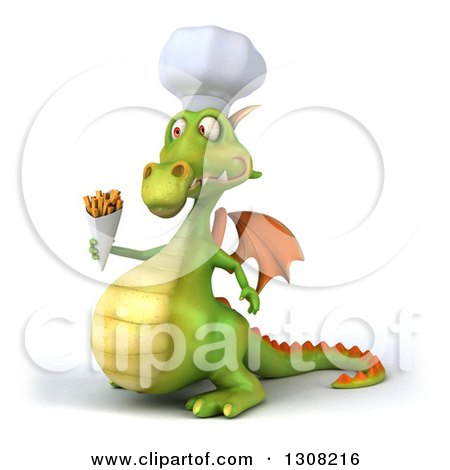 Clipart of a 3d Green Dragon Chef Facing Left and Holding French Fries - Royalty Free Illustration by Julos