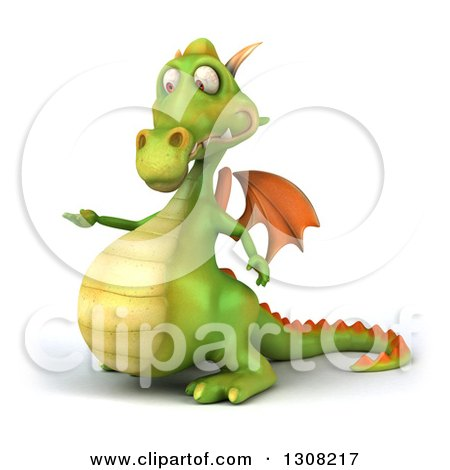 Clipart of a 3d Green Dragon Presenting to the Left - Royalty Free Illustration by Julos