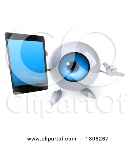 Clipart of a 3d Blue Eyeball Character Holding up a Cell Phone and Gesturing Call Me - Royalty Free Illustration by Julos