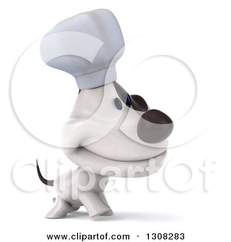 Clipart of a 3d Jack Russell Terrier Dog Chef Walking to the Right - Royalty Free Illustration by Julos