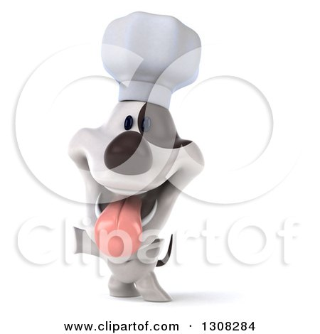 Clipart of a 3d Jack Russell Terrier Dog Chef Rearing and Presenting - Royalty Free Illustration by Julos