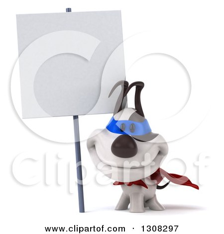 Clipart of a 3d Jack Russell Terrier Dog Super Hero Smiling Under a Blank Sign - Royalty Free Illustration by Julos