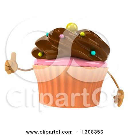 Clipart of a 3d Chocolate Frosted Cupcake Character Giving a Thumb up - Royalty Free Illustration by Julos