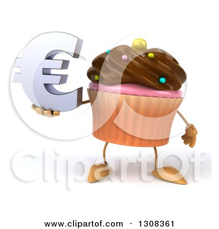 Clipart of a 3d Chocolate Frosted Cupcake Character Holding a Euro Symbol - Royalty Free Illustration by Julos