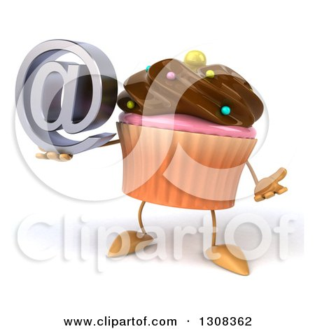 Clipart of a 3d Chocolate Frosted Cupcake Character Shrugging and Holding an Email Arobase at Symbol - Royalty Free Illustration by Julos