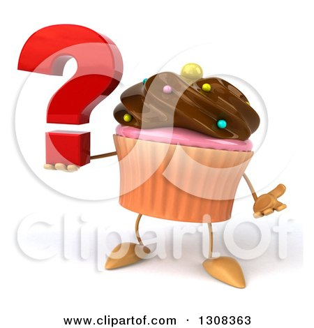 Clipart of a 3d Chocolate Frosted Cupcake Character Shrugging and Holding a Question Mark - Royalty Free Illustration by Julos
