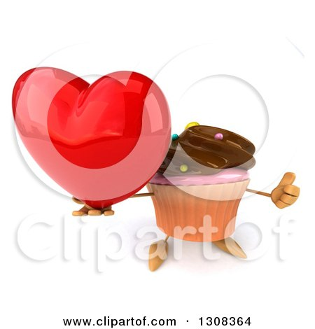 Clipart of a 3d Chocolate Frosted Cupcake Character Holding up a Thumb and Love Heart - Royalty Free Illustration by Julos