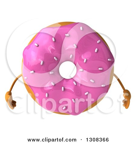 Clipart of a 3d Pink Sprinkle Frosted Donut Character - Royalty Free Illustration by Julos