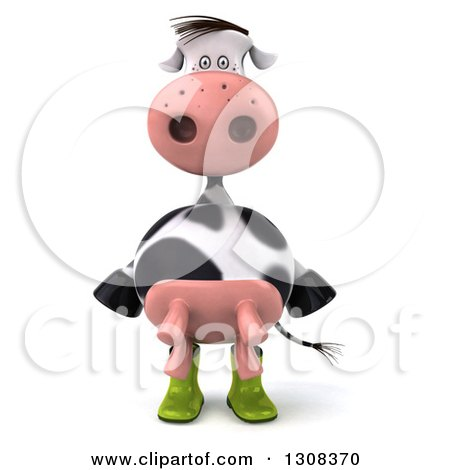 Clipart of a 3d Gardener Cow Wearing Rubber Boots - Royalty Free Illustration by Julos