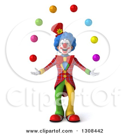 Clipart of a 3d Clown Character Juggling Colorful Balls - Royalty Free Illustration by Julos