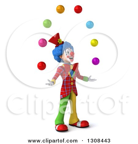 Clipart of a 3d Clown Character Facing Right and Juggling Colorful Balls - Royalty Free Illustration by Julos