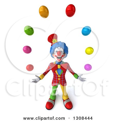 Clipart of a 3d Clown Character Looking up and Juggling Colorful Balls - Royalty Free Illustration by Julos