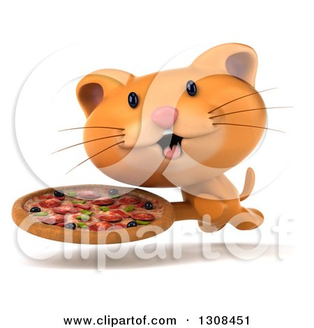 Clipart of a 3d Ginger Cat Running with a Pizza - Royalty Free Illustration by Julos