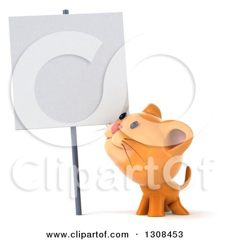 Clipart of a 3d Ginger Cat Smiling up at a Blank Sign - Royalty Free Illustration by Julos