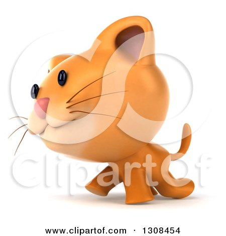 Clipart of a 3d Ginger Cat Walking to the Left - Royalty Free Illustration by Julos