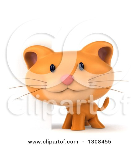 Clipart of a 3d Ginger Cat Smiling by a Blank Sign - Royalty Free Illustration by Julos