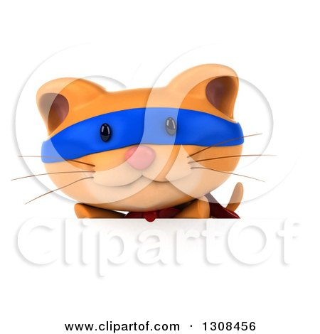 Clipart of a 3d Super Hero Ginger Cat over a Sign - Royalty Free Illustration by Julos
