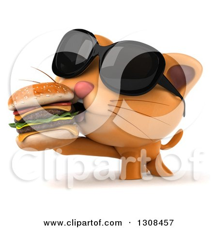 Clipart of a 3d Ginger Cat Wearing Sunglasses and Eating a Double Cheeseburger - Royalty Free Illustration by Julos