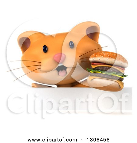 Clipart of a 3d Ginger Cat Wearing Sunglasses and Holding a Double Cheeseburger over a Sign - Royalty Free Illustration by Julos