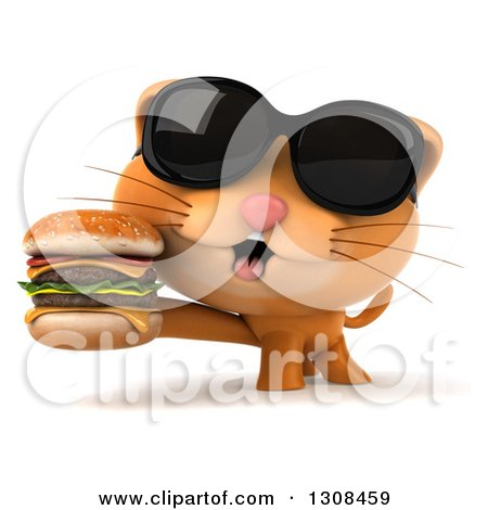 Clipart of a 3d Ginger Cat Wearing Sunglasses and Holding a Double Cheeseburger - Royalty Free Illustration by Julos