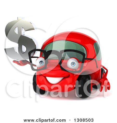 Clipart of a 3d Red Bespectacled Compact Car Holding a Dollar Symbol - Royalty Free Illustration by Julos