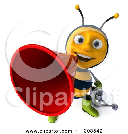 Clipart of a 3d Happy Gardener Bee Announcing Upwards with a Megaphone - Royalty Free Illustration by Julos
