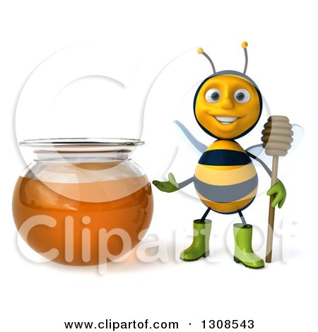 Clipart of a 3d Happy Gardener Bee Holding a Dipper and Presenting a Honey Jar - Royalty Free Illustration by Julos