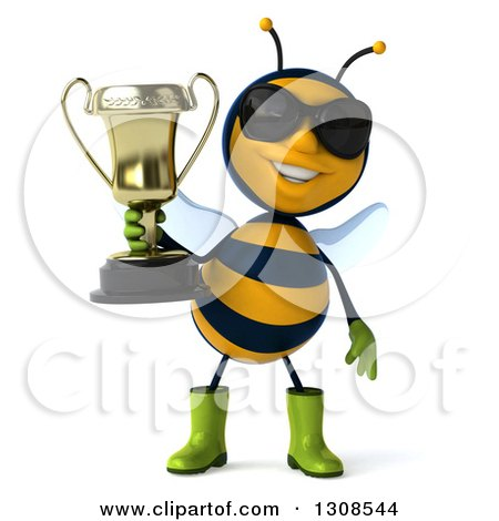 Clipart of a 3d Happy Gardener Bee Holding a Trophy - Royalty Free Illustration by Julos