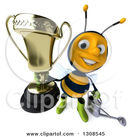 Clipart of a 3d Happy Gardener Bee Holding a Watering Can and Holding up a Trophy - Royalty Free Illustration by Julos