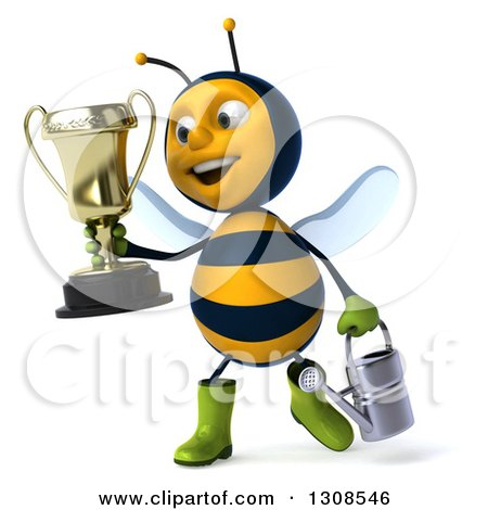 Clipart of a 3d Happy Gardener Bee Holding a Watering Can and Walking with a Trophy - Royalty Free Illustration by Julos