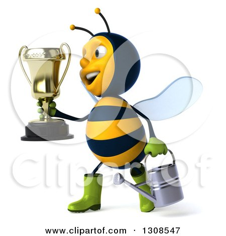 Clipart of a 3d Happy Gardener Bee Holding a Watering Can and Walking to the Left with a Trophy - Royalty Free Illustration by Julos