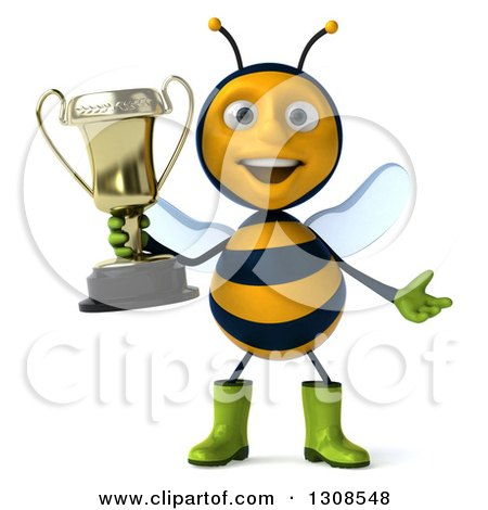 Clipart of a 3d Happy Gardener Bee Shrugging and Holding a Trophy - Royalty Free Illustration by Julos