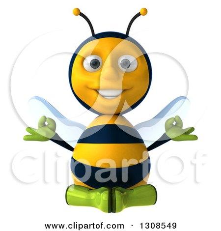 Clipart of a 3d Happy Gardener Bee Meditating - Royalty Free Illustration by Julos