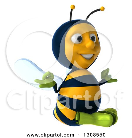 Clipart of a 3d Happy Gardener Bee Facing Slightly Right and Meditating - Royalty Free Illustration by Julos