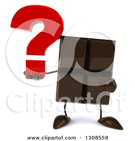 Clipart of a 3d Chocolate Candy Bar Character Holding and Pointing to a Question Mark - Royalty Free Illustration by Julos