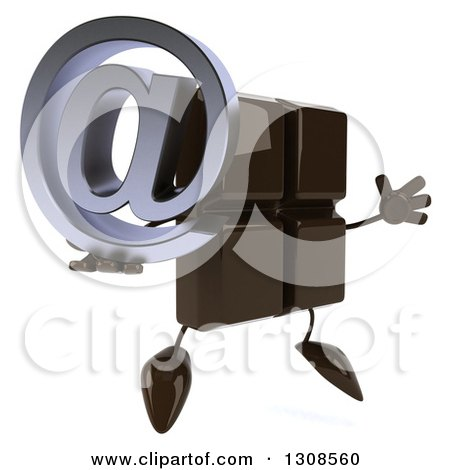 Clipart of a 3d Chocolate Candy Bar Character Facing Slightly Right, Jumping and Holding an Email Arobase at Symbol - Royalty Free Illustration by Julos