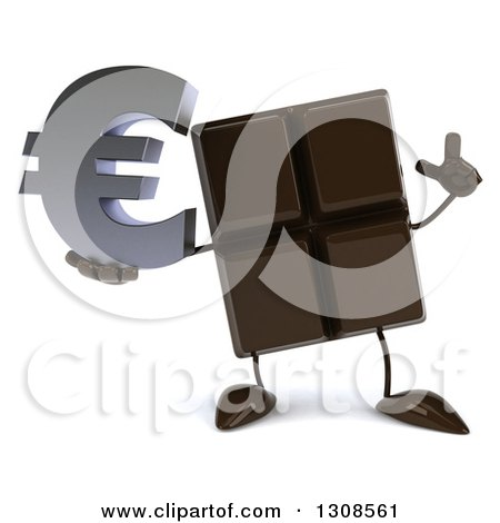 Clipart of a 3d Chocolate Candy Bar Character Holding up a Finger and a Euro Currency Symbol - Royalty Free Illustration by Julos