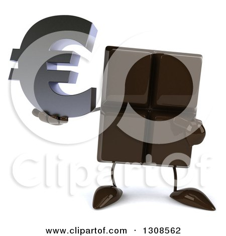 Clipart of a 3d Chocolate Candy Bar Character Holding and Pointing to a Euro Currency Symbol - Royalty Free Illustration by Julos