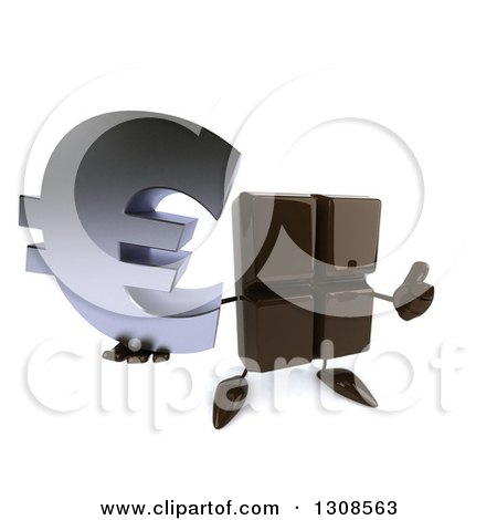Clipart of a 3d Chocolate Candy Bar Character Holding up a Thumb and a Euro Currency Symbol - Royalty Free Illustration by Julos