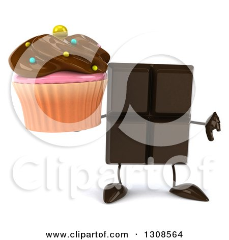 Clipart of a 3d Chocolate Candy Bar Character Holding a Chocolate Frosted Cupcake and Thumb down - Royalty Free Illustration by Julos
