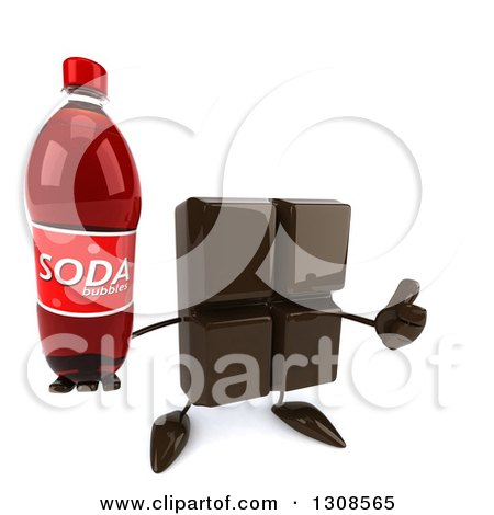 Clipart of a 3d Chocolate Candy Bar Character Holding up a Soda Bottle and a Thumb - Royalty Free Illustration by Julos