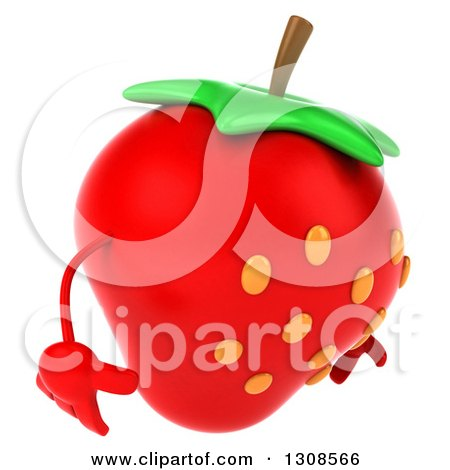 Clipart of a 3d Strawberry Character Facing Right and Looking down - Royalty Free Illustration by Julos