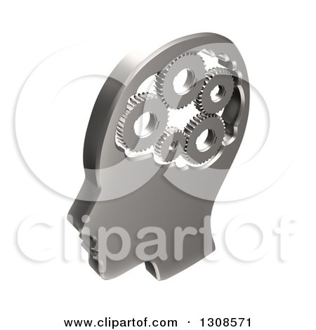 Clipart of a 3d Chrome Head with Gears in the Brain, on White - Royalty Free Illustration by Mopic