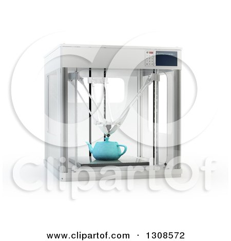 Clipart of a 3d Printing Machine Creating a Tea Pot Prototype, on White - Royalty Free Illustration by Mopic
