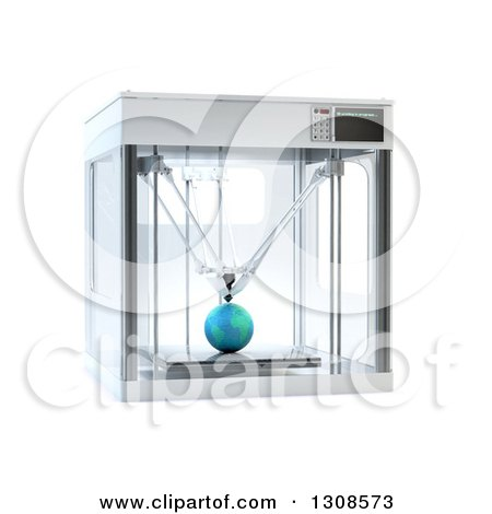 Clipart of a 3d Printing Machine Creating a Planet Earth Prototype, on White - Royalty Free Illustration by Mopic