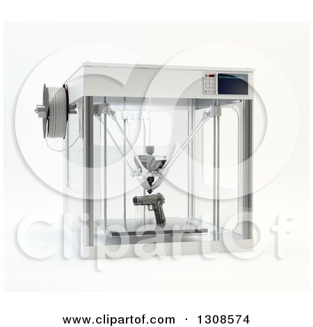 Clipart of a 3d Printing Machine Creating a Pistol Gun Prototype, on White - Royalty Free Illustration by Mopic