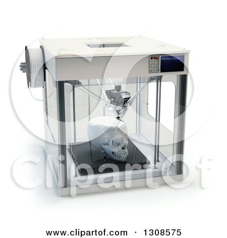 Clipart of a 3d Printing Machine Creating a Human Skull Prototype, on White - Royalty Free Illustration by Mopic