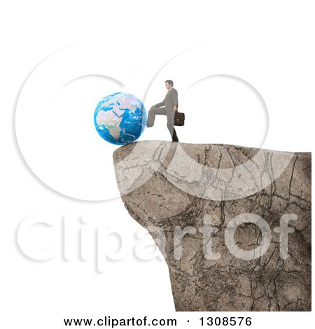 Clipart of a 3d White Businessman Pushing Planet Earth off of a Cliff Edge, on White - Royalty Free Illustration by Mopic